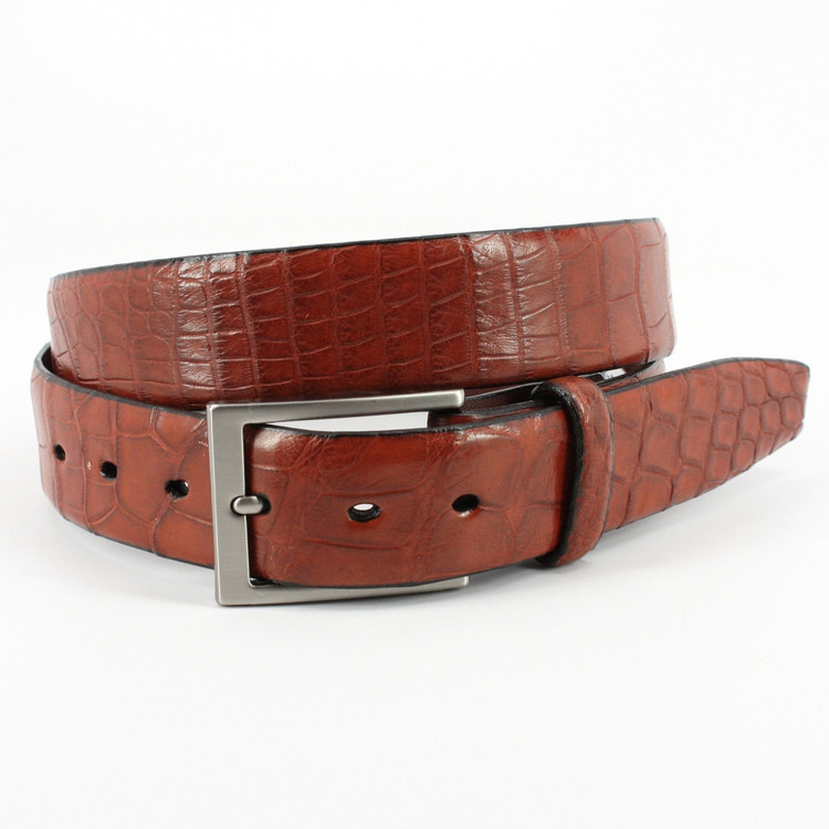American Alligator Belt in Cognac Matte by Torino Leather Co.