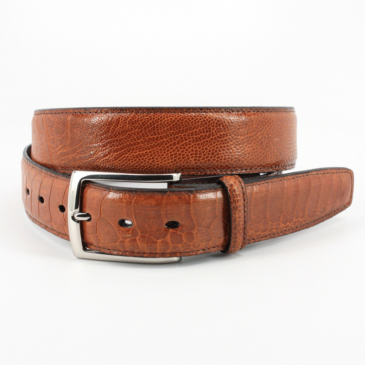 Genuine South African Ostrich Leg Belt in Cognac by Torino Leather Co.