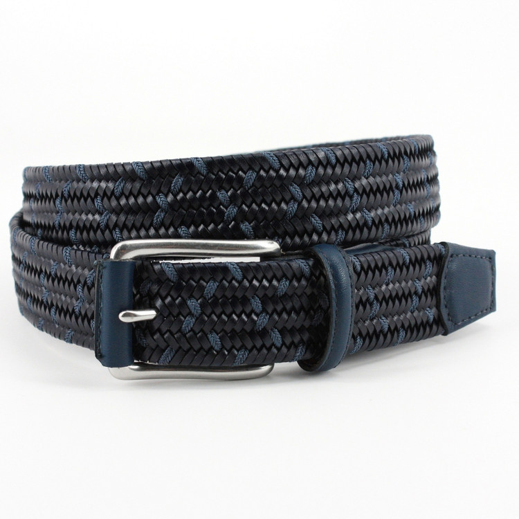 Italian Woven Stretch Leather Belt in Navy and Blue by Torino Leather Co.