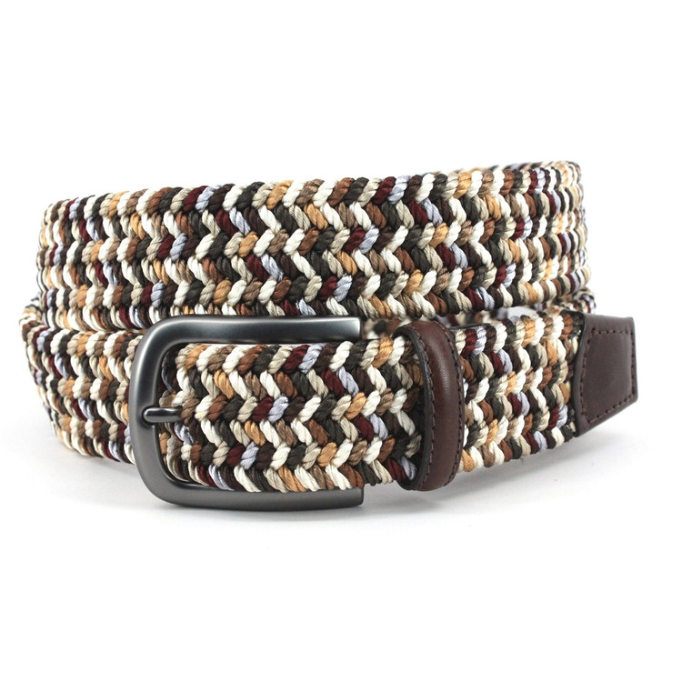 Italian Woven Rayon Elastic Belt in Brown and Camel Multi by Torino Leather Co.