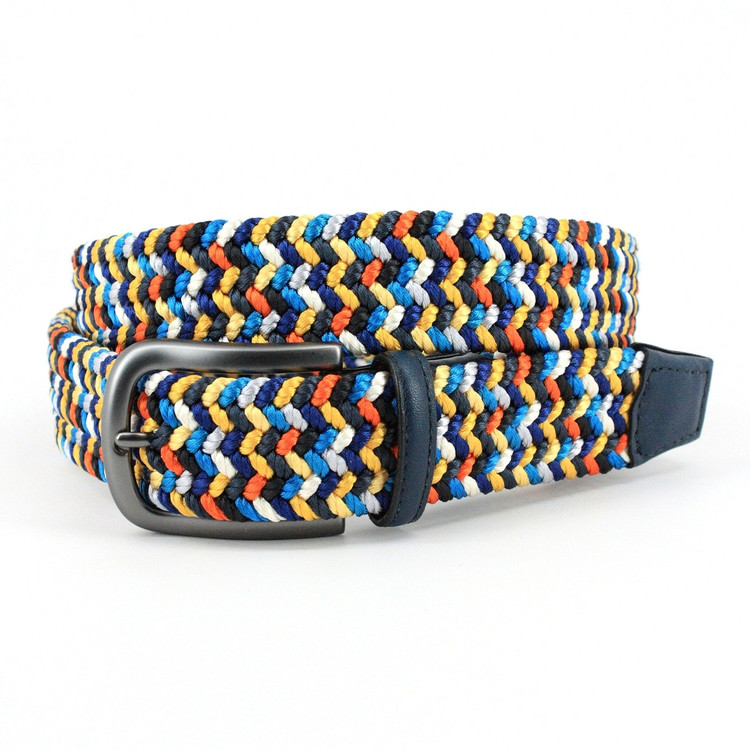 Italian Woven Rayon Elastic Belt in Navy Multi by Torino Leather Co.