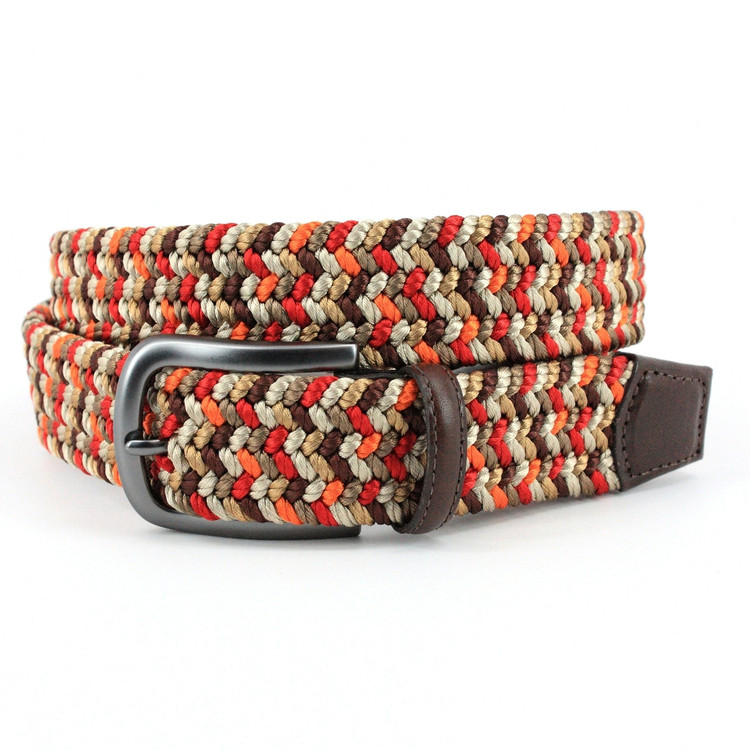 Italian Woven Rayon Elastic Belt in Red and Camel Multi by Torino Leather Co.