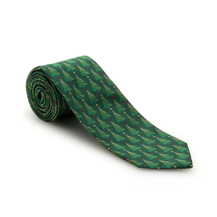 Fall 2017 Best of Class Green Christmas Tree 'Holiday Club' Woven Silk Tie by Robert Talbott