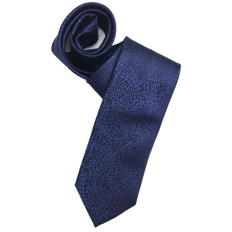 Fall 2017 Navy and Blue Floral Paisley 'Robert Talbott Protocol' Hand Sewn Woven Silk Tie by Robert Talbott