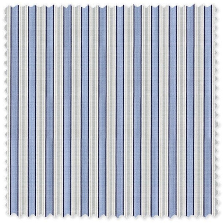 Blue and Grey Stripe 'Royal 120's' Cotton Broadcloth Custom Dress Shirt by Skip Gambert