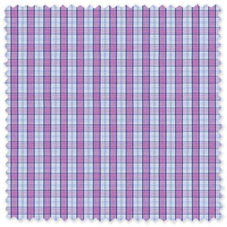 Blue and Purple Plaid 'Royal 120's' Cotton Broadcloth Custom Dress Shirt  by Skip Gambert