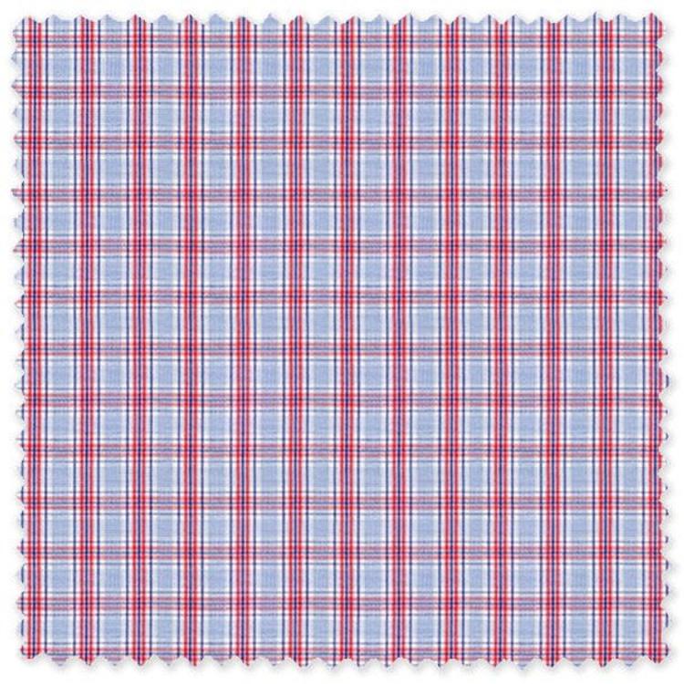 Blue and Red Plaid 'Royal 120's' Cotton Broadcloth Custom Dress Shirt  by Skip Gambert