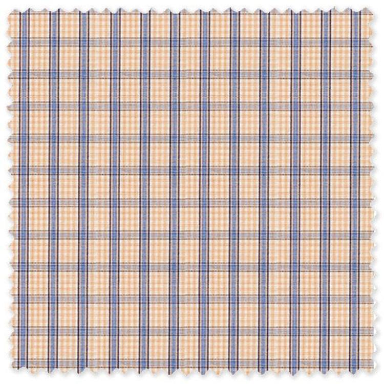 Blue and Melon Plaid 'Royal 120's' Cotton Broadcloth Custom Dress Shirt  by Skip Gambert