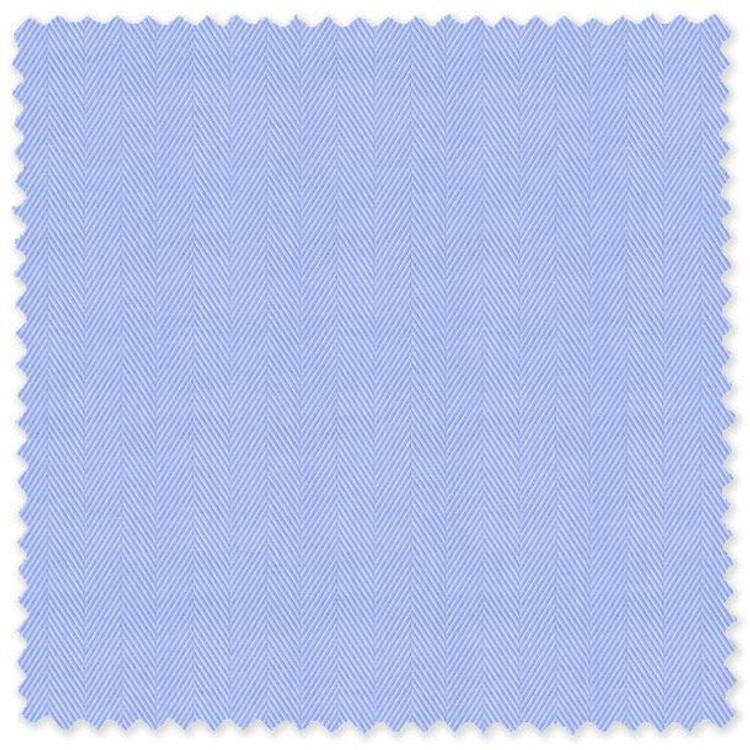Light Blue 'Thomas Mason' 140's Cotton Herringbone Custom Dress Shirt by Skip Gambert