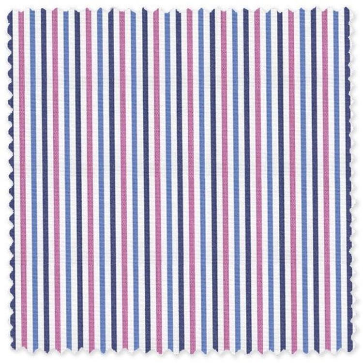 Blue and Pink Stripe 'Grandi & Rubinelli' Cotton Broadcloth Custom Dress Shirt by Skip Gambert