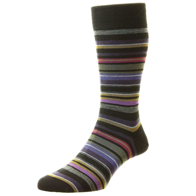 Quakers All Over Stripe Merino Wool Long Anklet Sock in Black by Pantherella