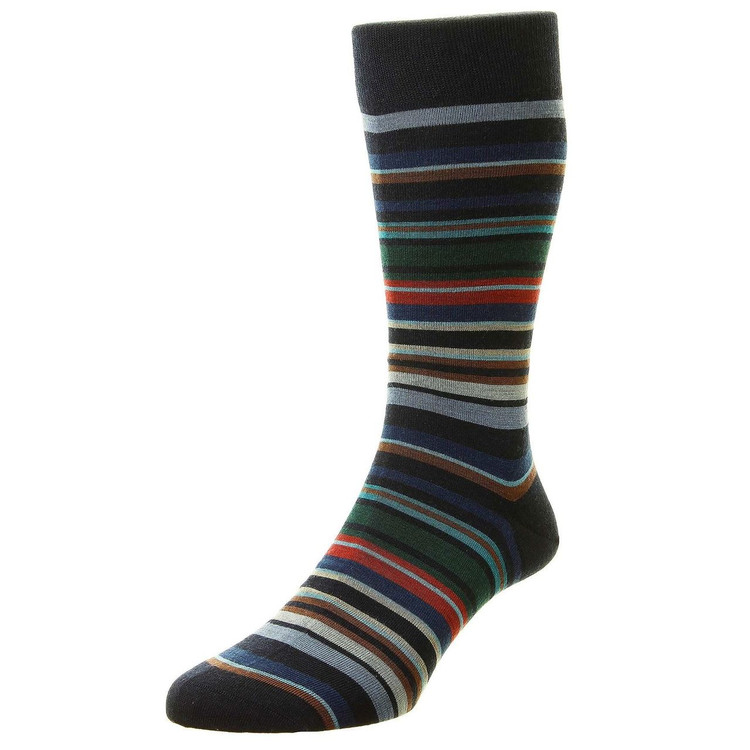 Quakers All Over Stripe Merino Wool Long Anklet Sock in Navy by Pantherella