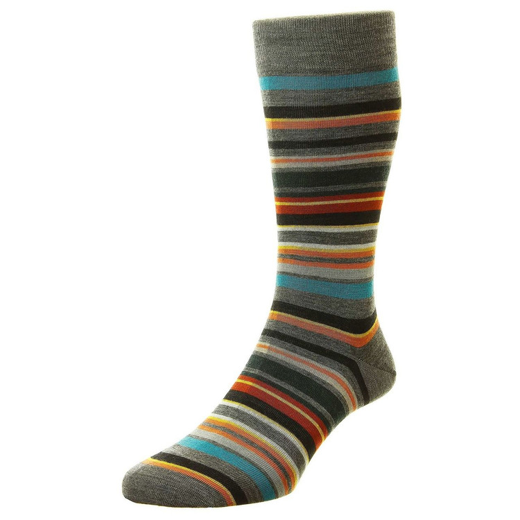 Quakers All Over Stripe Merino Wool Long Anklet Sock in Mid Grey Mix by Pantherella