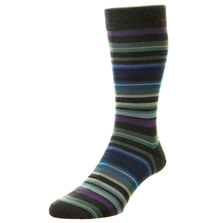 Quakers All Over Stripe Merino Wool Long Anklet Sock in Charcoal by Pantherella