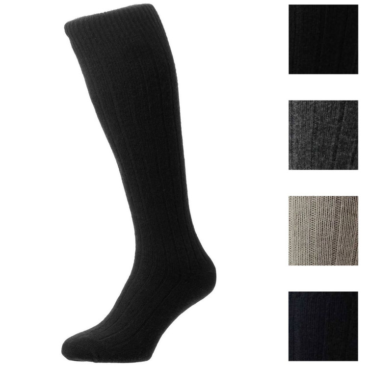 Waddington Cashmere 5x1 Rib Sock in Choice of Colors (Over the Calf) by Pantherella