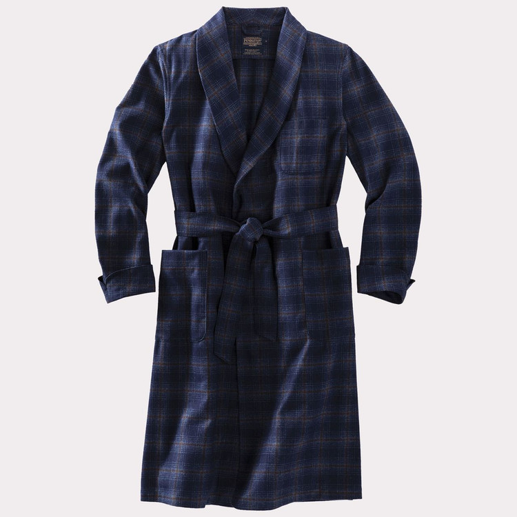Washable Whisperwool Lounge Robe in Navy and Bronze Ombre by Pendleton