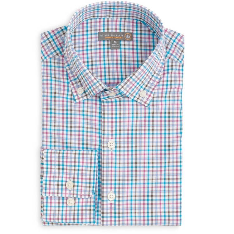 Post Check 'Crown Sport' Performance Sport Shirt in White Plaid by Peter Millar