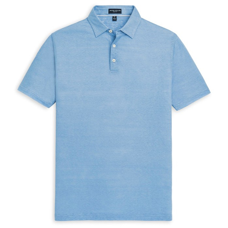 Summertime Linen Polo with Self Collar in Blue Cielo by Peter Millar