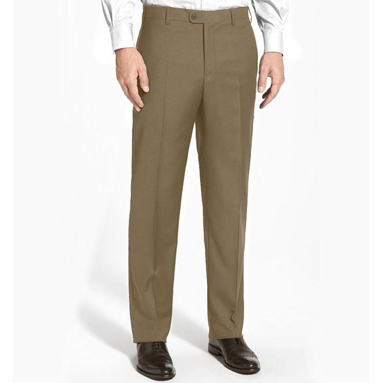 'Devon' Flat Front Lower Rise Super 120's Wool Serge Pant in Taupe by Zanella