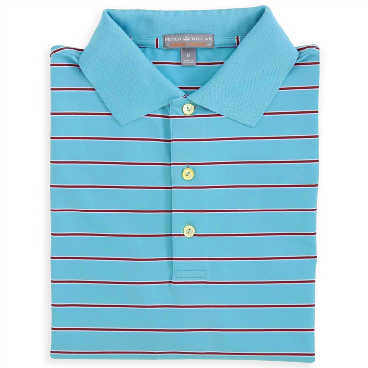Blossom Stripe E4 Summer Comfort Stretch Jersey Polo with Knit Collar in Electric Blue (Size X-Large) by Peter Millar