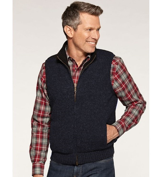 Shetland Fleece-Lined Territory Vest in Dark Indigo by Pendleton