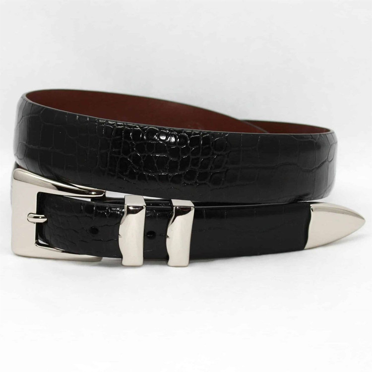 Alligator Embossed Calfskin Belt with 4-Piece Buckle Set in Black by Torino Leather Co.