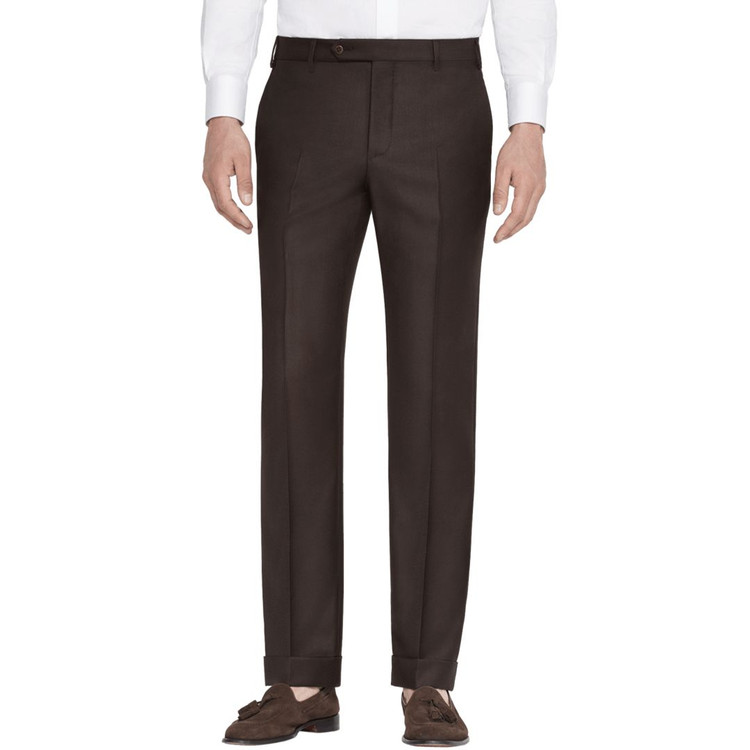 'Devon' Flat Front Lower Rise Super 120's Wool Serge Pant in Chocolate Brown by Zanella