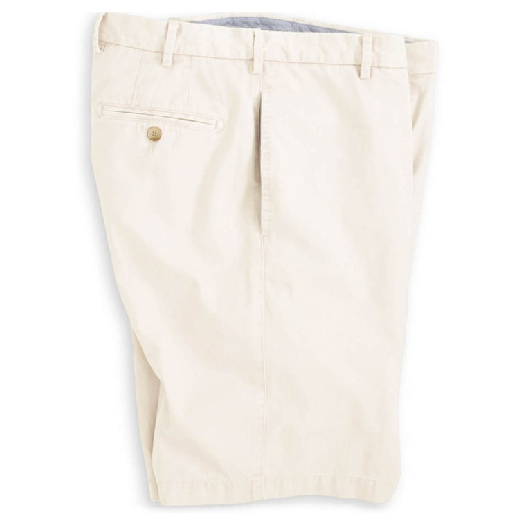 'Winston' Washed Twill Flat Front Short in Stone by Peter Millar