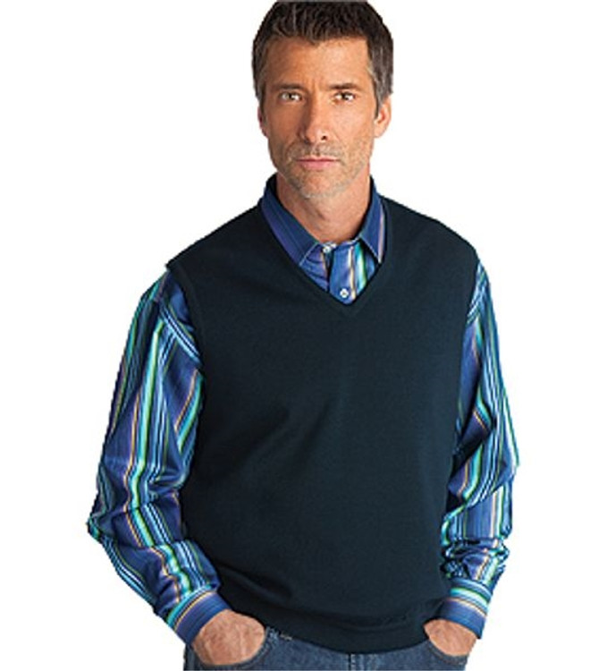 Classic Merino Wool Pullover Vest in Navy by St. Croix