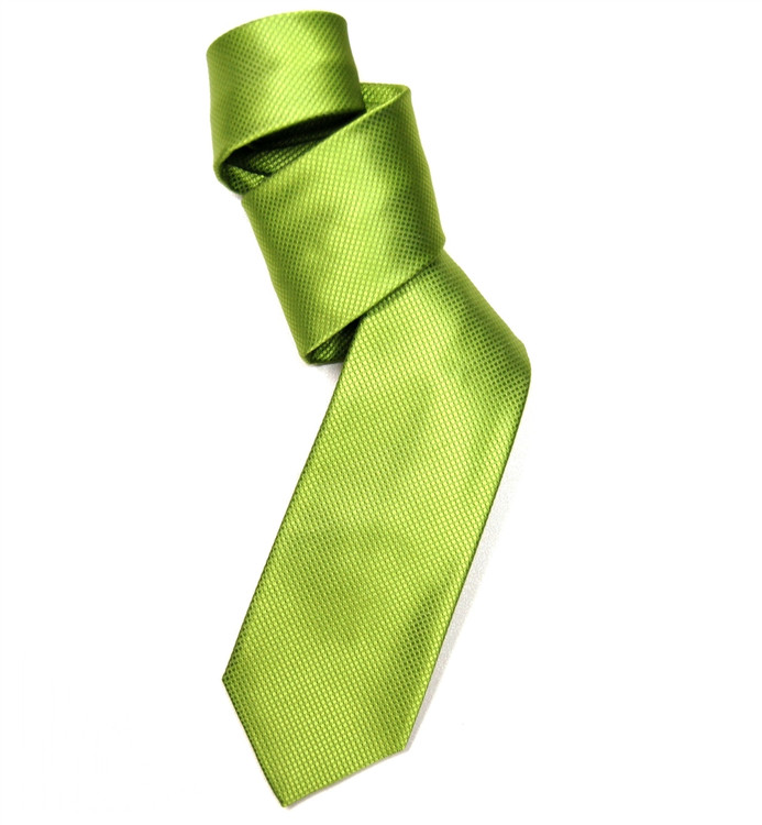 Lime Solid Dobby Woven Silk Tie by Robert Jensen