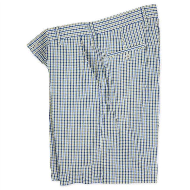 Checked Seersucker Parker Short in Lime and Navy (Size 34) by Bills Khakis