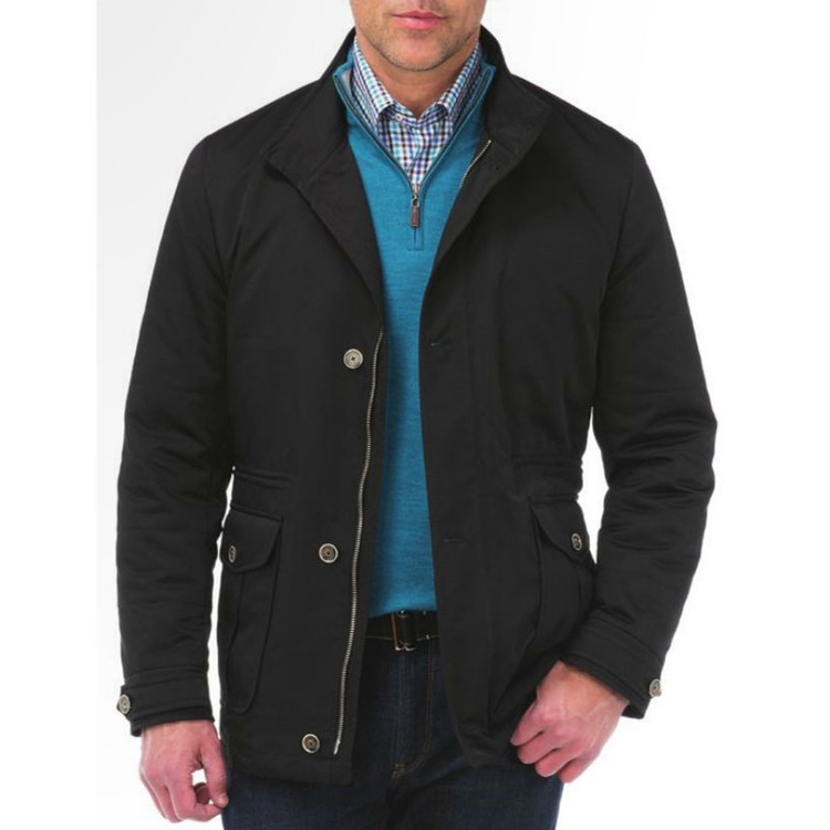 'Palmetto' Lightweight Coat in Black by Peter Millar
