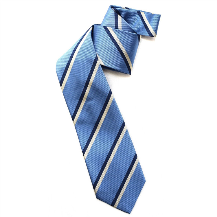 Blue, Navy, and Cream Silk Faille Repp Tie by Robert Jensen