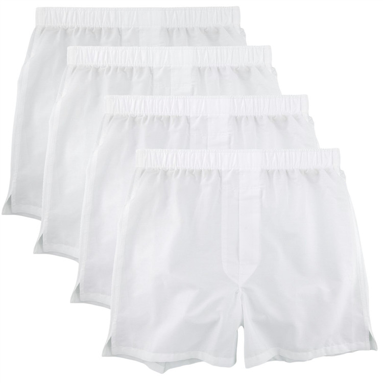 Cotton Boxer in White (4 Pack) by Robert Talbott