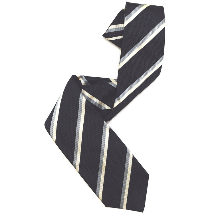 Black, Grey, and Cream Silk Faille Repp Tie by Robert Jensen