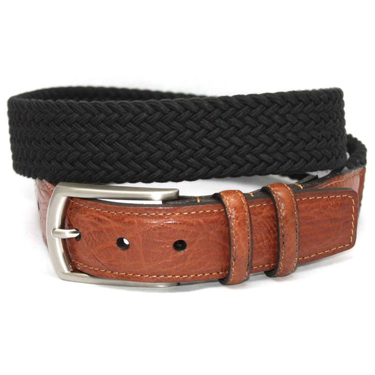 Italian Woven Cotton Elastic Belt in Black by Torino Leather Co.