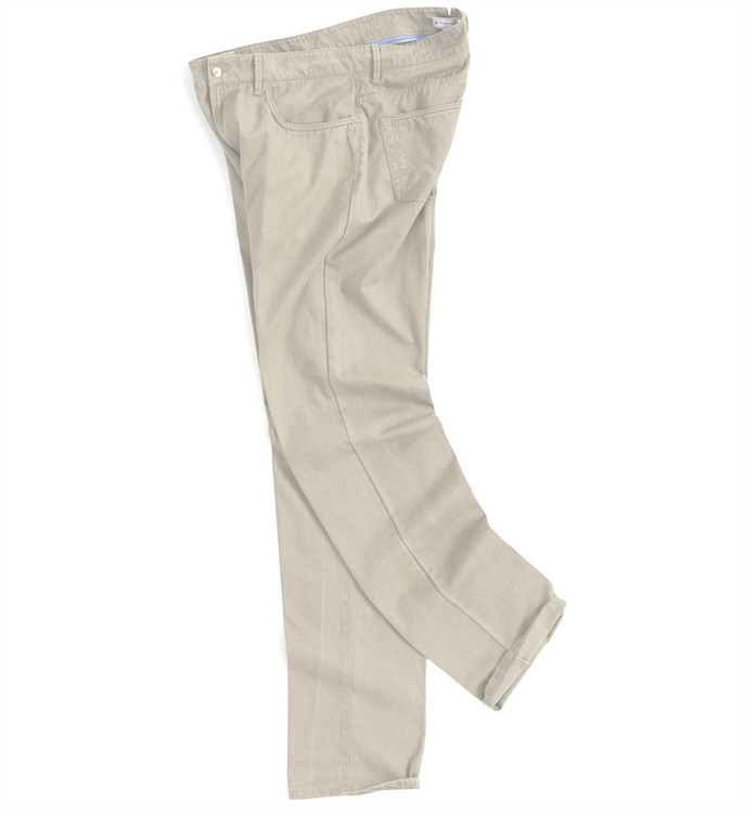 Roberson Five-Pocket Washed Twill Pant in Stone by Peter Millar