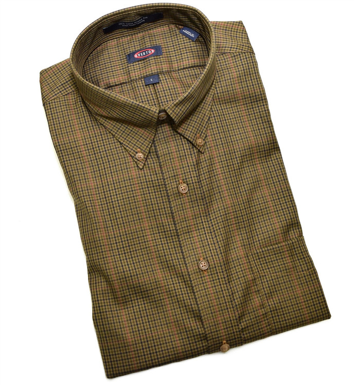 Olive, Saddle, and Navy Check Button-Down Wrinkle Free Sport Shirt by Overton