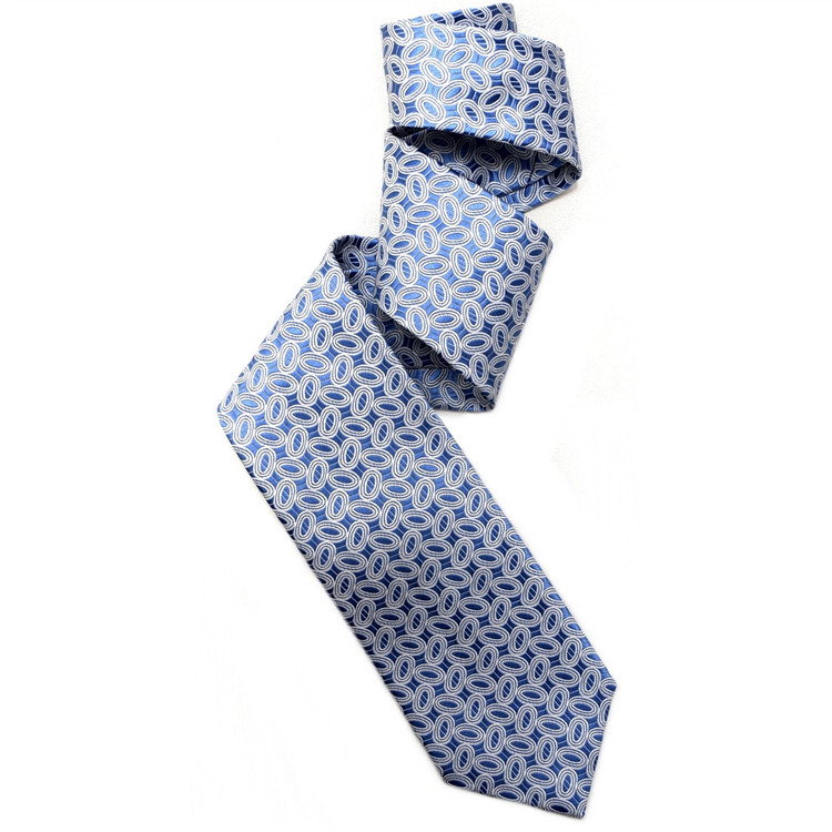 Blue and White Ovals Woven Silk Tie by Robert Jensen