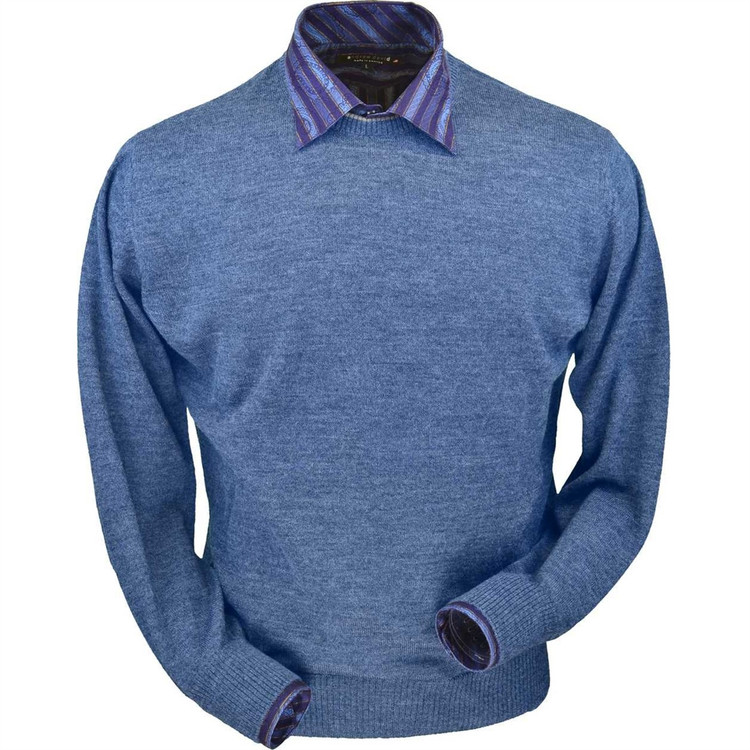 Royal Alpaca Crew Neck Sweater in Coastal Heather by Peru Unlimited