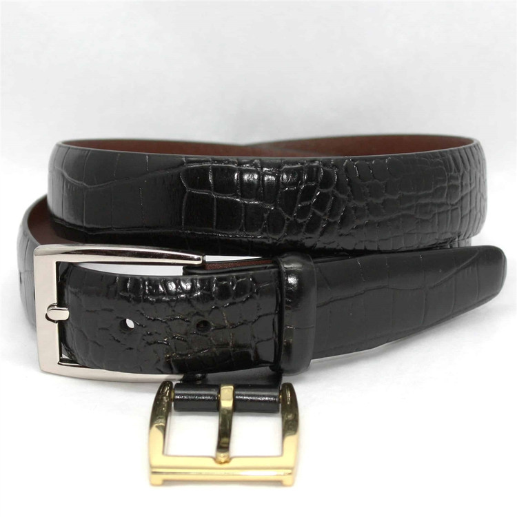 Alligator Embossed Calfskin Belt in Black by Torino Leather Co.