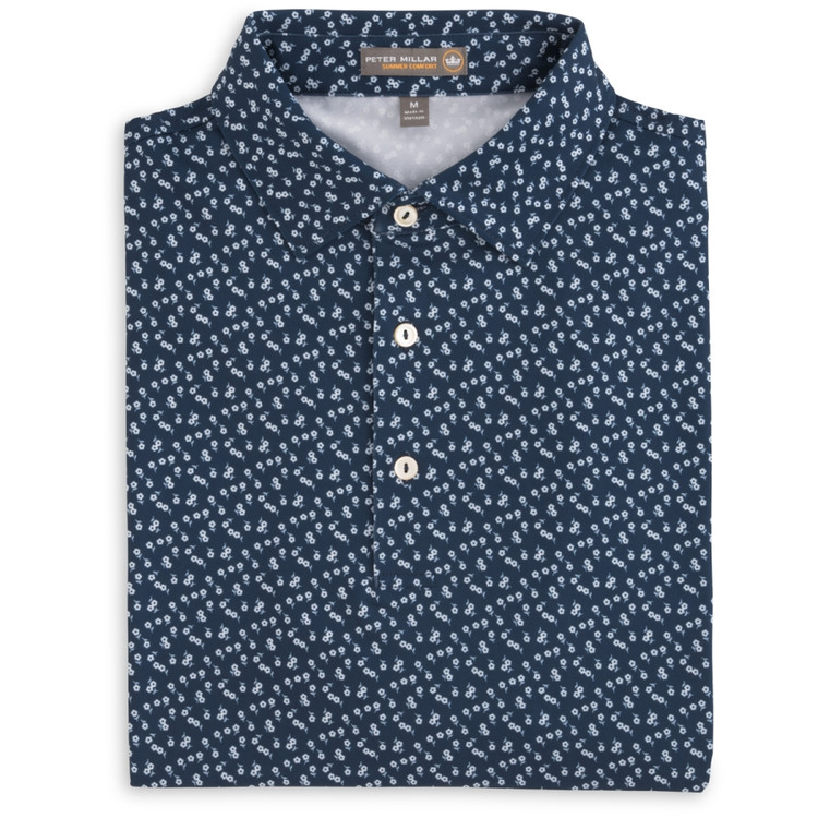 Breeze Floral 'Crown Sport' Stretch Jersey Polo with Sean Collar in Midnight (Size Large) by Peter Millar
