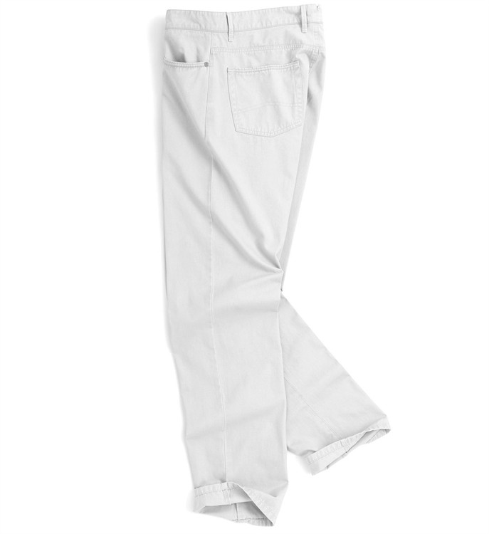 Roberson Five-Pocket Washed Twill Pant in White by Peter Millar