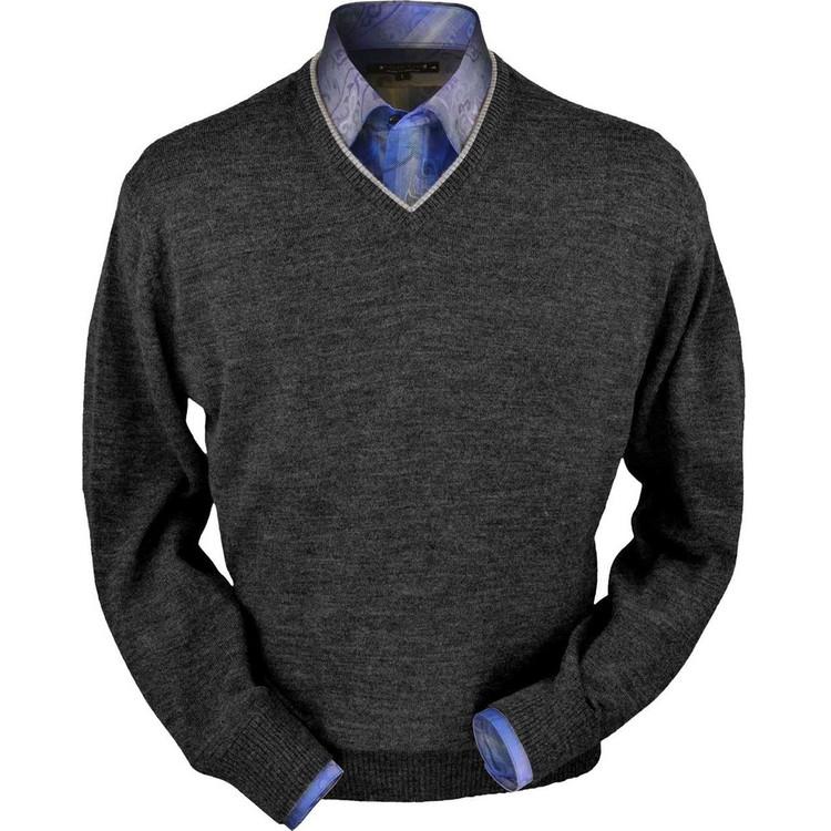 Royal Alpaca V-Neck Sweater in Medium Grey Heather by Peru Unlimited