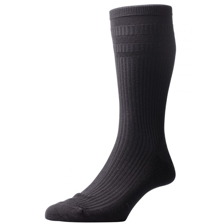 Ickburgh Graduated Rib with Relaxation Panels Non-Elastic Cotton Lisle Sock in Black (3 Pair) by Pantherella