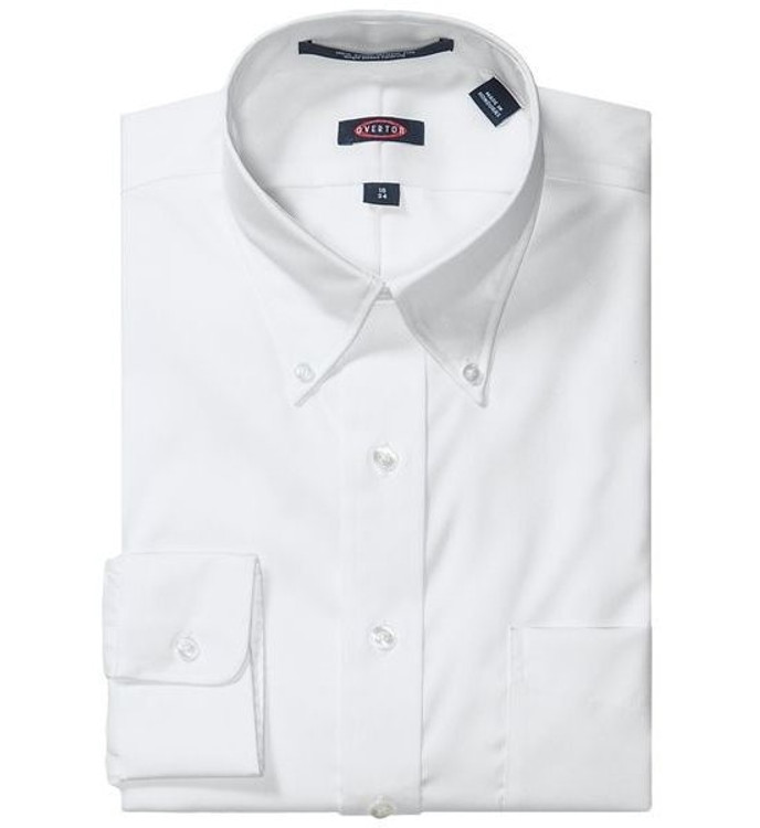 "80's 2-Ply Pinpoint Button-Down ""Road Warrior"" Wrinkle Free Dress Shirt in White (Size 16 1/2 - 34) by Overton"