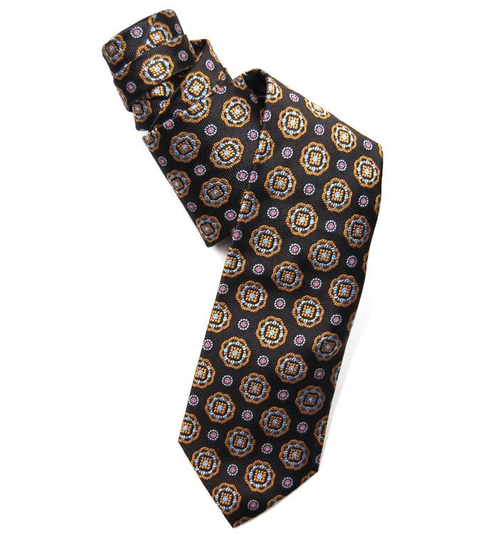 Best of Class Black Medallion 'American Traditional' Woven Silk Tie by Robert Talbott