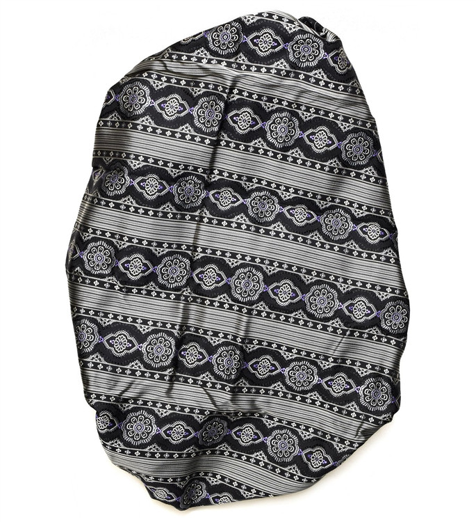 Custom Made Black, Grey, and Purple Medallion Stripe Seven Fold Tie by Robert Talbott
