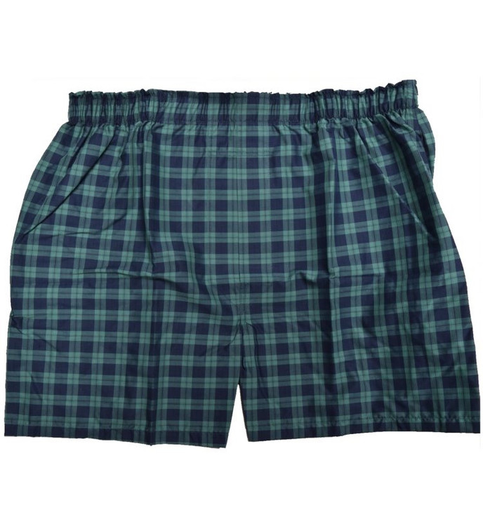 Premium Combed Cotton Boxer in Navy and Green Check by Tiger Mountain