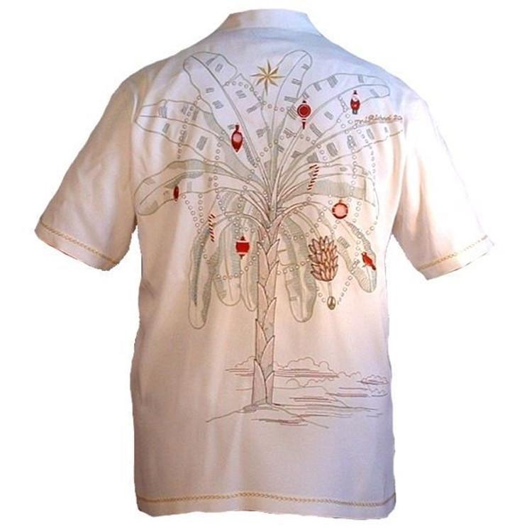 'Island Christmas' Silk Resort Shirt (Size Large) by Tori Richard